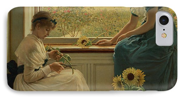 Sun And Moon Flowers IPhone Case by George Dunlop Leslie