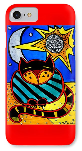 Sun And Moon - Honourable Cat - Art By Dora Hathazi Mendes IPhone Case by Dora Hathazi Mendes