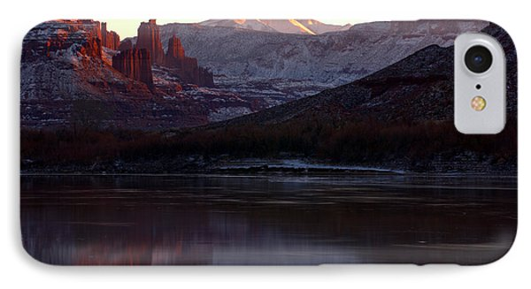 IPhone Case featuring the photograph Sun Down At Fisher Towers by Adam Jewell