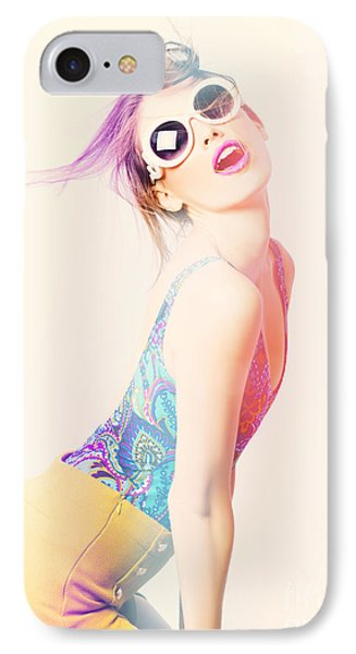 Sun Flared 70s Pin-up Girl Posing In Funky Colour IPhone Case