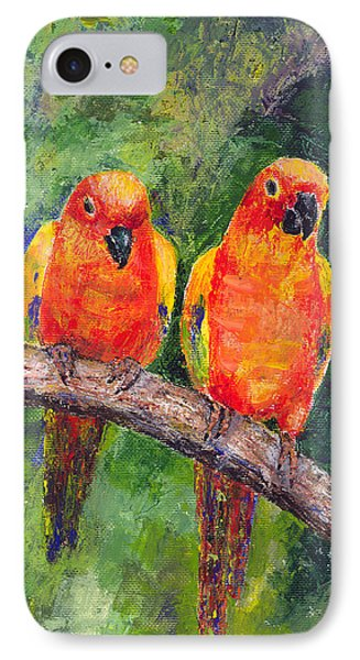 Sun Parakeets IPhone Case by Arline Wagner