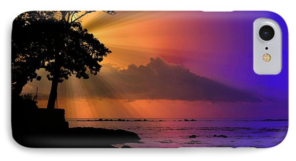 IPhone Case featuring the photograph Sun Rays Sunset by Lori Seaman