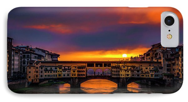 IPhone Case featuring the photograph Sun Rises Over The Ponte Vecchio by Andrew Soundarajan