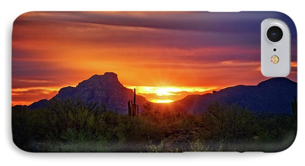 IPhone Case featuring the photograph Sun Setting On Red Mountain  by Saija Lehtonen