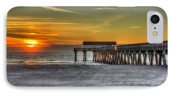 Sun Up Reflections On Tybee Island Pier IPhone Case by Reid Callaway