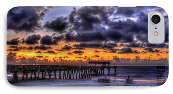 Sun Up Tybee Pier Sunrise Beach Art IPhone Case by Reid Callaway