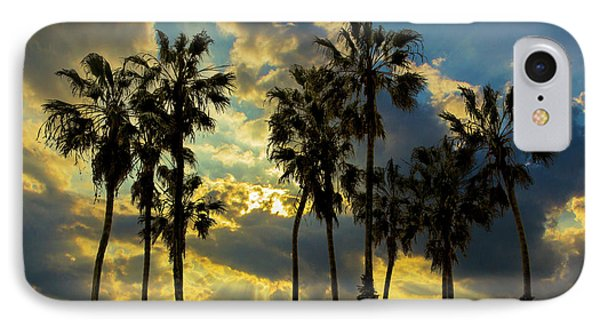 IPhone Case featuring the photograph Sunbeams And Palm Trees By Cabrillo Beach by Randall Nyhof