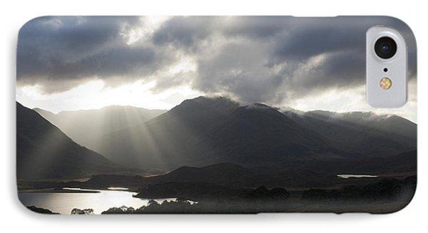 Sunbeams In Glen Affric Phone Case by Sue Arber