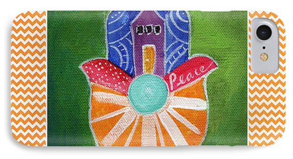 Sunburst Hamsa With Chevron Border IPhone Case by Linda Woods