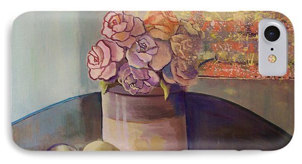 IPhone Case featuring the painting Sunday Morning Roses Through The Looking Glass by Marlene Book