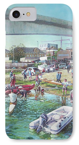 IPhone Case featuring the painting Sunday Morning Rowing At Itchen Bridge, Southampton  by Martin Davey