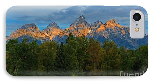 Sundrise On Grand Tetons IPhone Case by Sharon Seaward