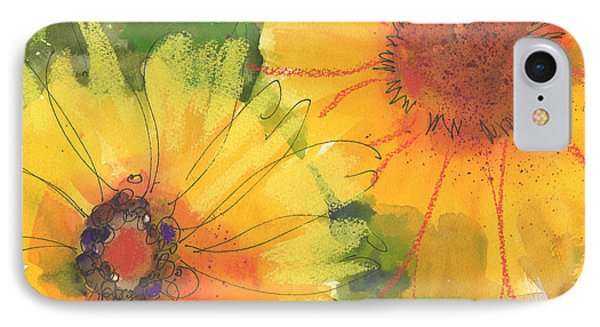 Big Sunflowers Watercolor And Pastel Painting Sf018 By Kmcelwaine IPhone Case by Kathleen McElwaine
