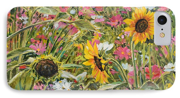 IPhone Case featuring the painting Sunflower And Cosmos by Steve Spencer