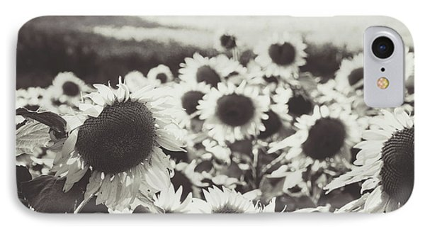 IPhone Case featuring the photograph Sunflower Black And White 1 by Andrea Anderegg