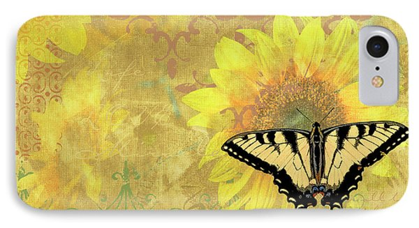 Sunflower Butterfly Yellow Gold IPhone Case by JQ Licensing