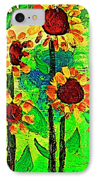 IPhone Case featuring the painting Sunflower Closeup by Angela Annas