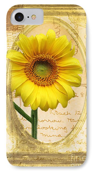 Sunflower On Vintage Postcard IPhone Case by Nina Silver