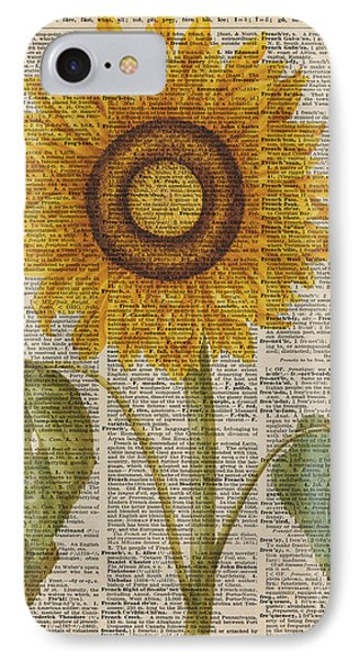 Sunflower Over Dictionary Page IPhone Case