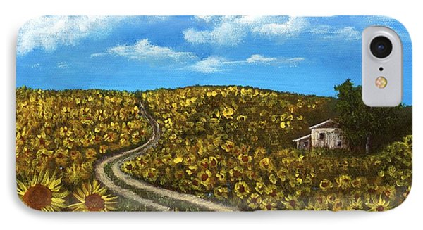 IPhone Case featuring the painting Sunflower Road by Anastasiya Malakhova