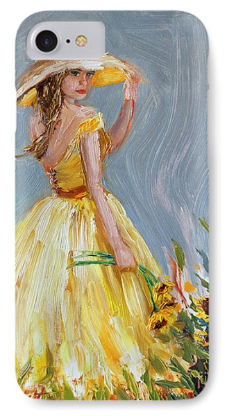 IPhone Case featuring the painting Sunflower Seduction by Jennifer Beaudet