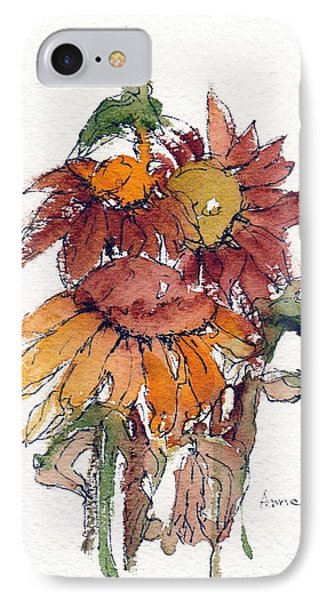 IPhone Case featuring the painting Sunflower Trio #2 by Anne Duke