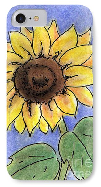 IPhone Case featuring the drawing Sunflower by Vonda Lawson-Rosa