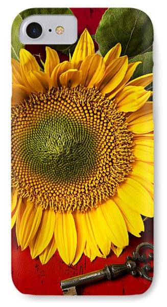 Sunflower With Old Key IPhone Case by Garry Gay