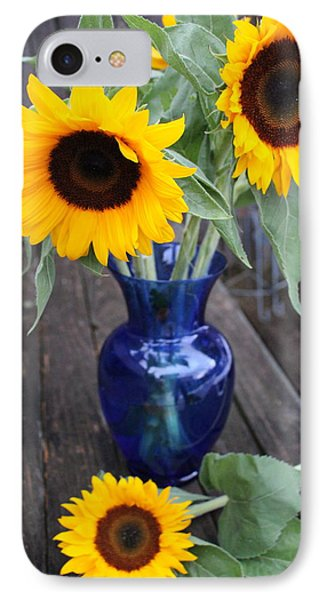 Sunflowers And Blue Vase - Still Life IPhone Case