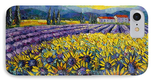 Sunflowers And Lavender Field - The Colors Of Provence IPhone Case by Mona Edulesco