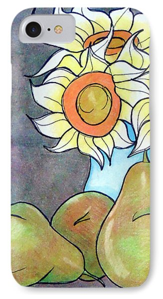 Sunflowers And Pears Phone Case by Loretta Nash