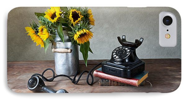 Sunflower iPhone 7 Case - Sunflowers And Phone by Nailia Schwarz
