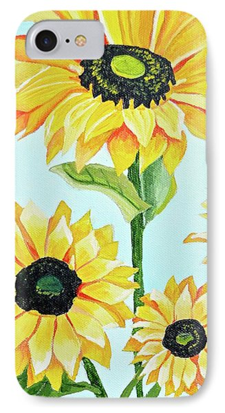 IPhone Case featuring the painting Sunflowers  by Donna Blossom
