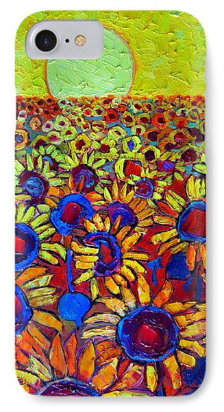 Sunflowers Field At Sunrise IPhone Case by Ana Maria Edulescu