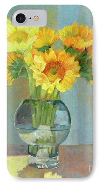 IPhone Case featuring the painting Sunflowers In A Glass Vase Number One by Marlene Book