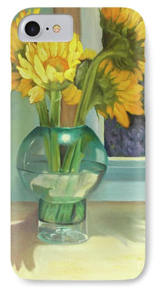 IPhone Case featuring the painting Sunflowers In A Glass Vase Number Three by Marlene Book