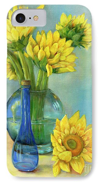 IPhone Case featuring the painting Sunflowers In A Glass Vase Number Two by Marlene Book