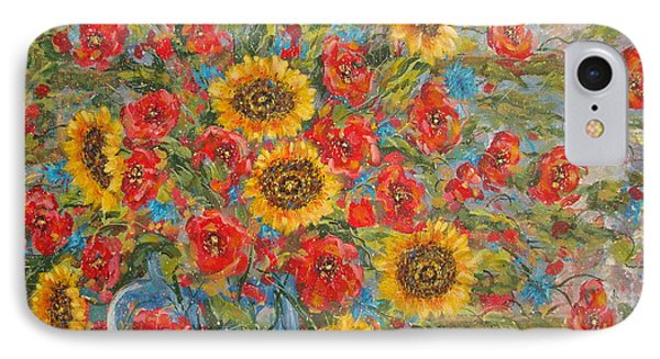 Sunflowers In Blue Pitcher. IPhone Case