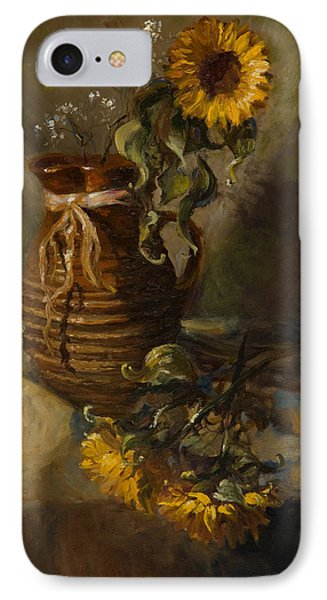 Sunflowers In Clay Pitcher Phone Case by Sandra Quintus
