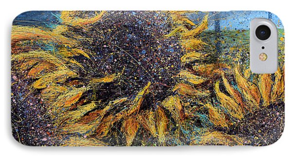 Sunflowers In Field IPhone Case by Michael Glass