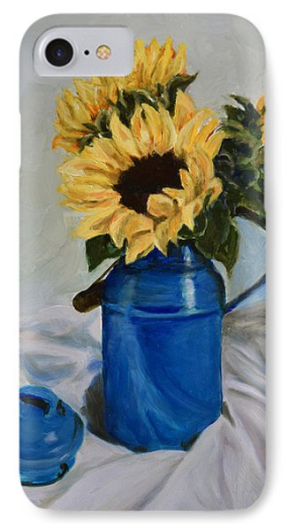 IPhone Case featuring the painting Sunflowers In Milkcan by Sandra Nardone