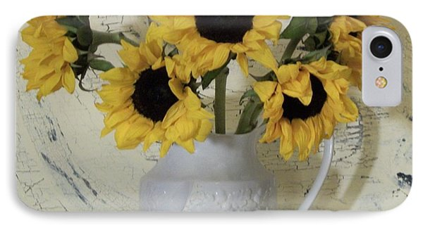 Sunflowers In The Country IPhone Case by Marsha Heiken