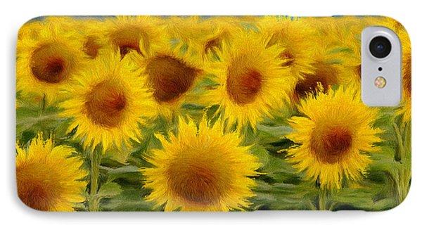 Sunflowers In The Field Phone Case by Jeff Kolker