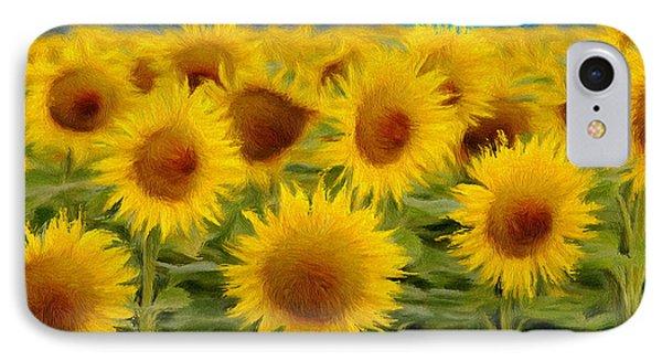 Sunflowers In The Field IPhone Case by Jeff Kolker
