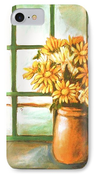 IPhone 7 Case featuring the painting Sunflowers In Window by Winsome Gunning