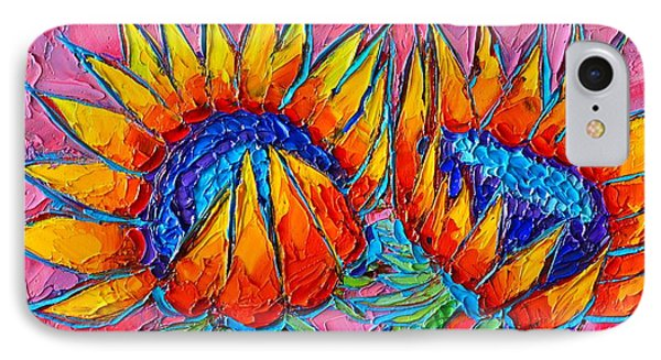 Sunflowers Love - Modern Colorful Floral Original Palette Knife Oil Painting By Ana Maria Edulescu IPhone Case
