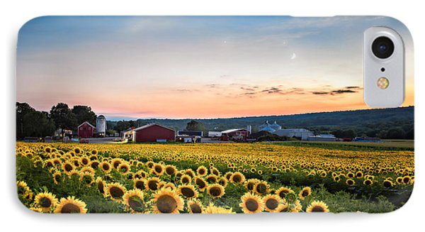 IPhone Case featuring the photograph Sunflowers, Moon And Stars by Eduard Moldoveanu