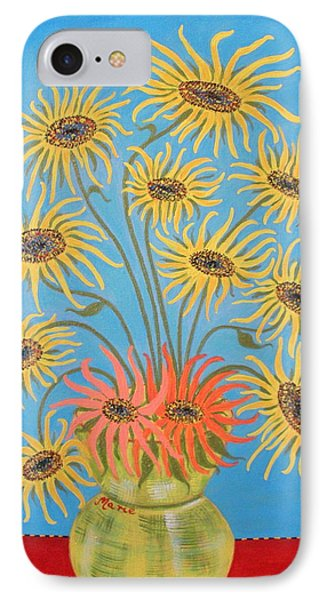 Sunflowers On Blue IPhone Case by Marie Schwarzer