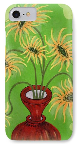 Sunflowers On Green IPhone Case by Marie Schwarzer