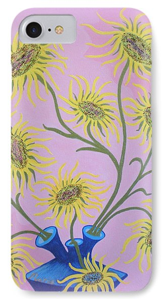 Sunflowers On Pink IPhone Case by Marie Schwarzer